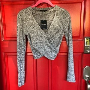 NWT Forever 21 Gray wrap sexy fall crop top